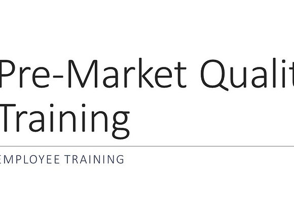 Pre-market QMS Training