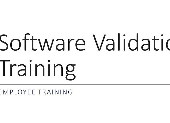 Software Validation Training