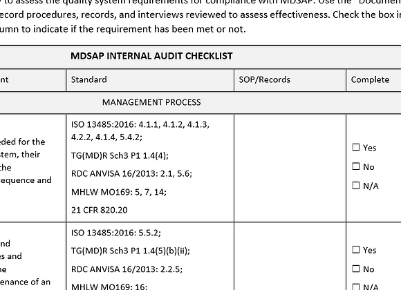 MDSAP Audit Checklist