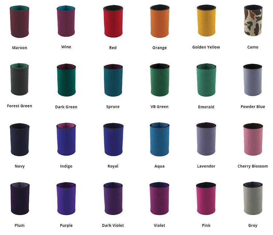 Single Colour Neoprene Colour Options: