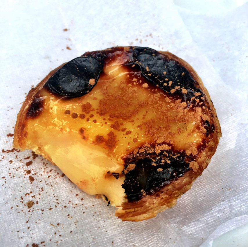 """A delicious pastel de nata pastry from Aloma. You may recognize these in the """"Portuguese egg tarts"""" seen all over the world. The ones in Portugal are the best!"""