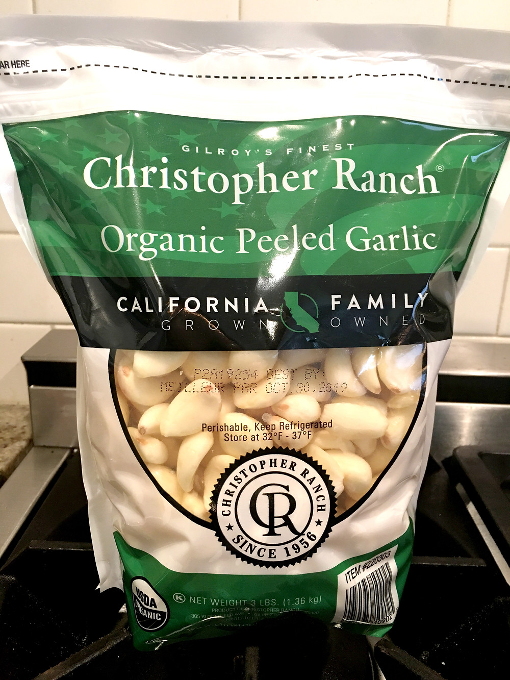 Large 3-lb bag of garlic sold at Costco