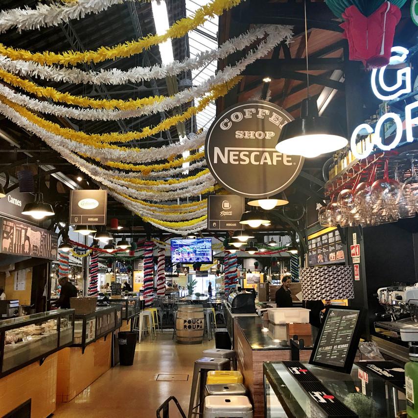 Inside the food court of the Mercado de Campo de Orique