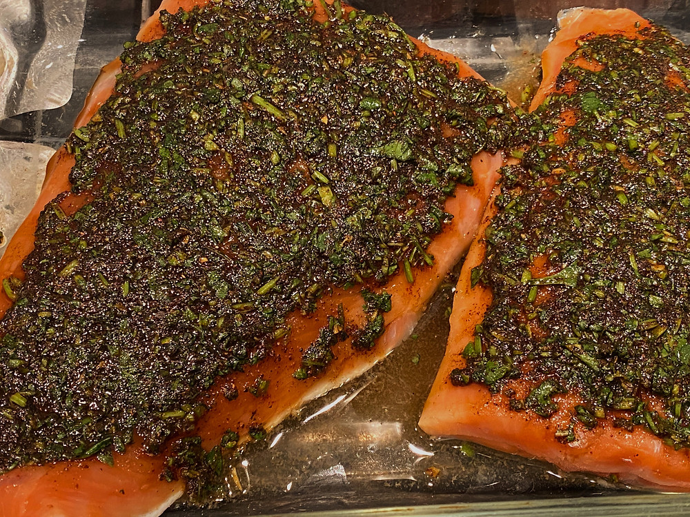 salmon topped with cilantro, tequila, kosher salt, and pepper