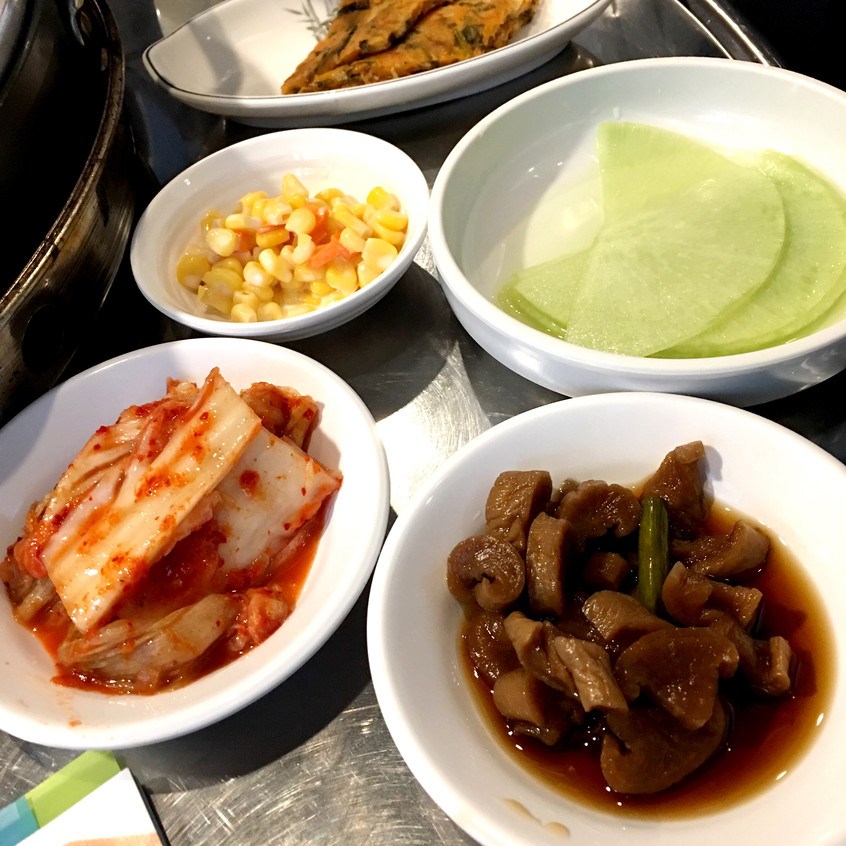 Banchan assortment at a restaurant in Seoul