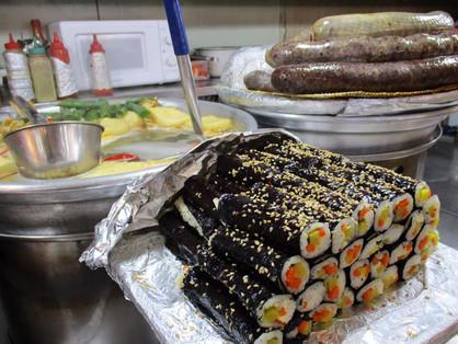 Blood sausage, rolls called maya & tofu soup at Gwangjang Market