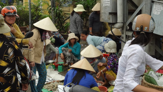 A lively market scene in Vietnam