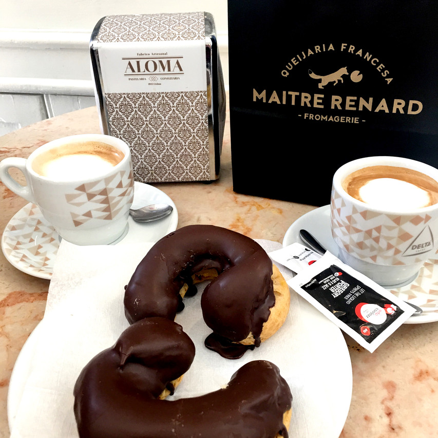 Double espressos with delicious pastries from Aloma. These have custard inside. Yum!