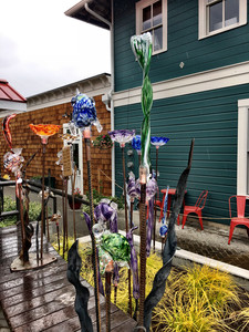 Glass garden art for sale at Callahan's Firehouse Studio and Gallery