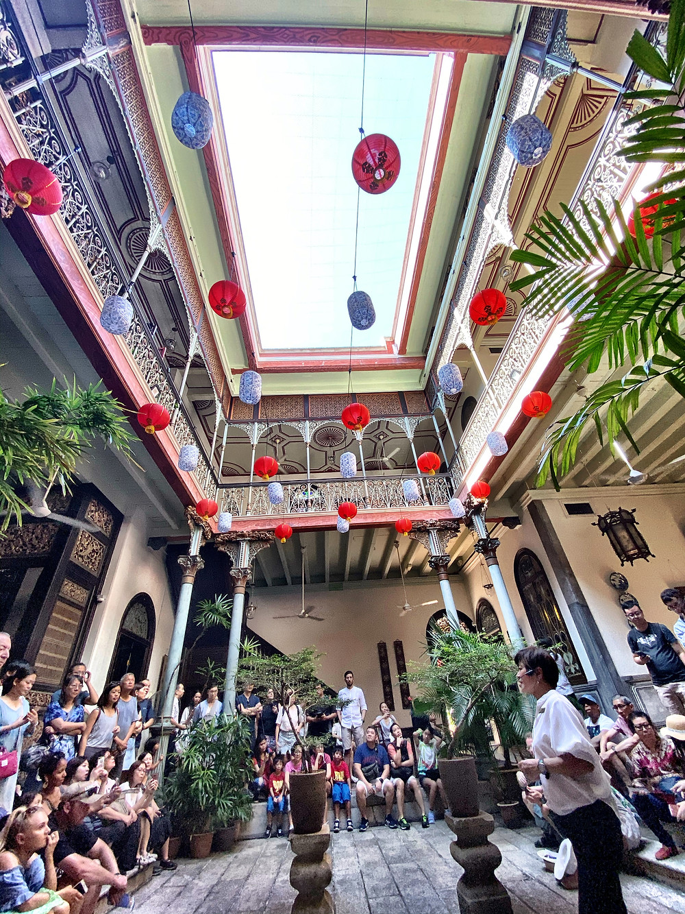 The interior courtyard of the Blue Mansion in George Town. The mah jong scene with Constance Wu and Michelle Yeoh was filmed here. This is a beautifully restored building that you can pay to tour and the lucky few can spend the night (in the hotel portion).