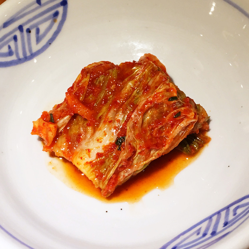 Kimchi on a plate at a restaurant in Seoul