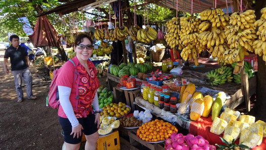 Roadside stand in Laos with a great fruit selection