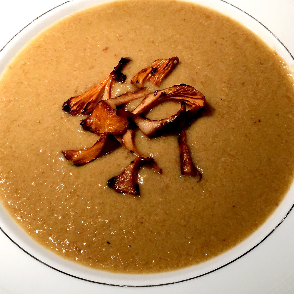 Dinner is served: chanterelle soup topped with sauteed chanterelles