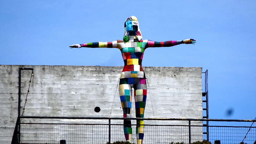 Colorful sculpture at LX Factory