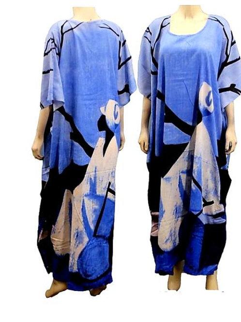 Blue Tribal Kaftan Dress/ Head scarf Set