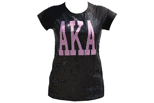 Alpha Kappa Alpha Sequin Tee Black