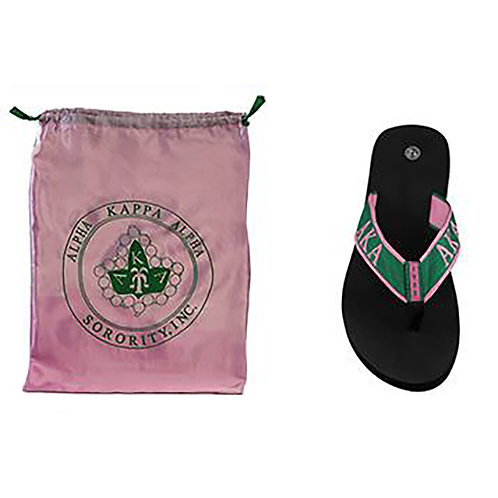 Alpha Kappa Alpha (AKA) Flip Flops In Draw String Shoe Bag