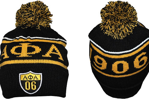 Alpha Phi Alpha Black w/Gold Letters Beanie