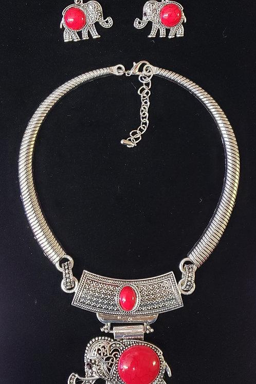 Delta Sigma Theta Elephant Collar Necklace Set