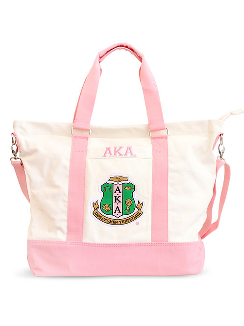ALPHA KAPPA ALPHA WHITE CANVAS BAG