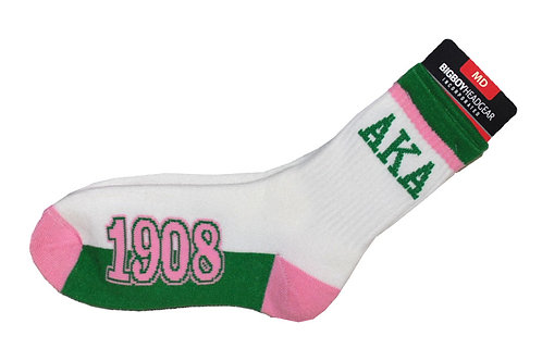 ALPHA KAPPA ALPHA SOCKS WHITE