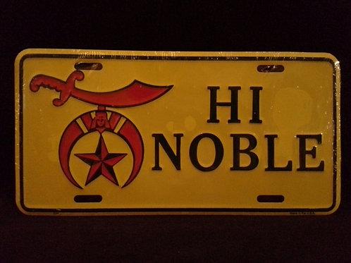 Hi Noble Shriner Car License Plate