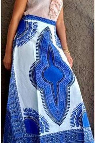 Dashiki Blue/White Long Wrap Skirt /Headwrap set