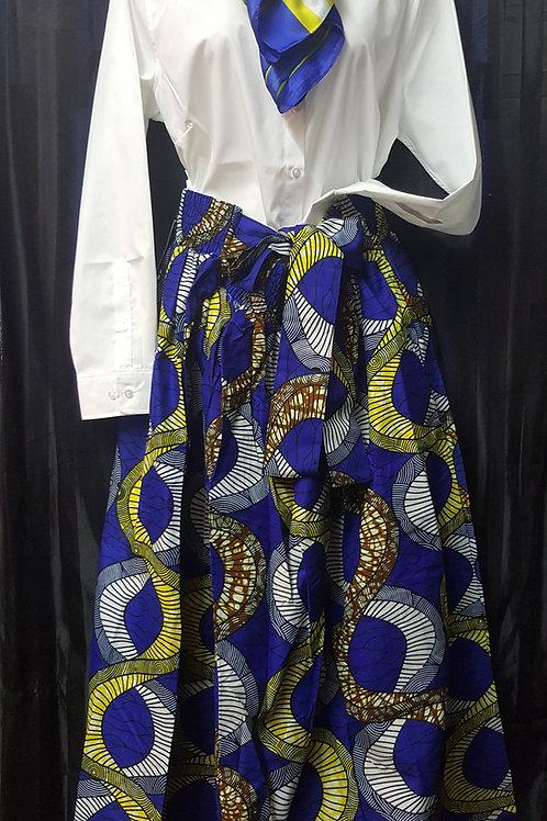 Dashiki Blue/Gold Long Printed Skirt