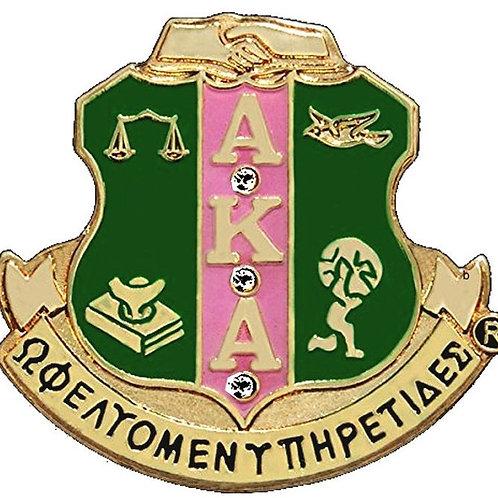 Alpha Kappa Alpha Shield w/stone Lapel Pin