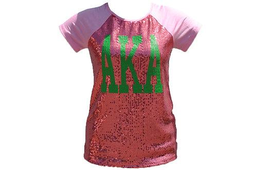 Alpha Kappa Alpha Sequin Tee Pink