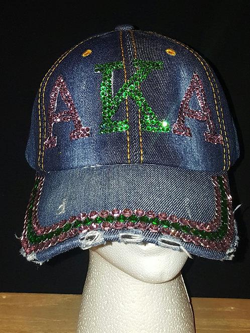 ALPHA KAPPA ALPHA DENIM RHINESTONE HATS