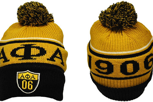 Alpha Phi Alpha Gold w/Black Letters Beanie