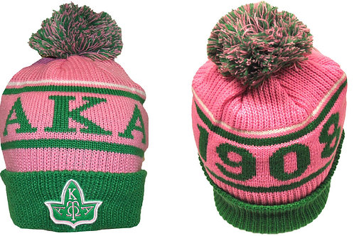 Alpha Kappa Alpha Beanie Pink Letters