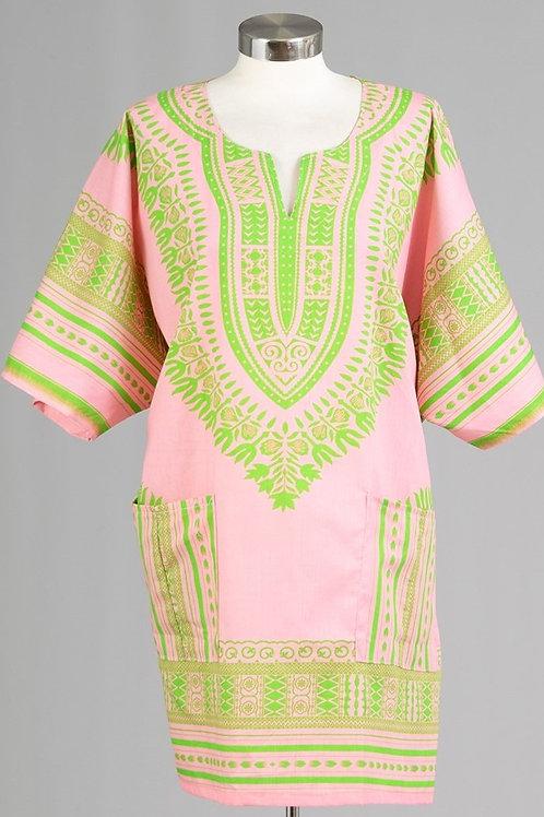 Dashiki Pink/Green Universal Top / Dress