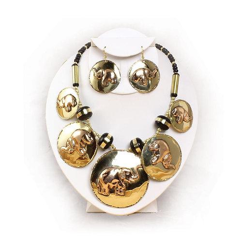 Cooper Brass Elephant Necklace Set