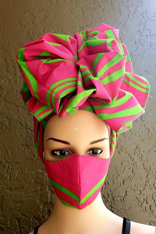 Pink Face Mask / Headwrap Set