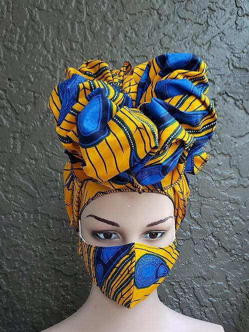 Kente Face Mask / Headwrap Set