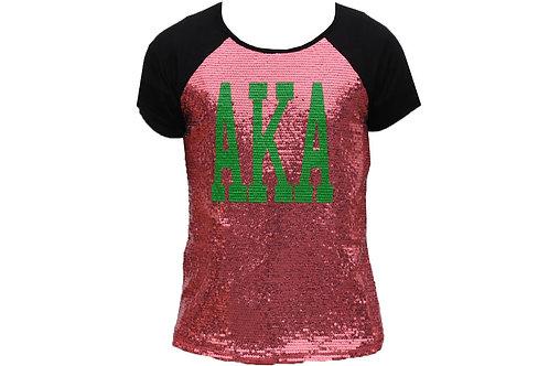 Alpha Kappa Alpha Sequin Tee Pink/Black