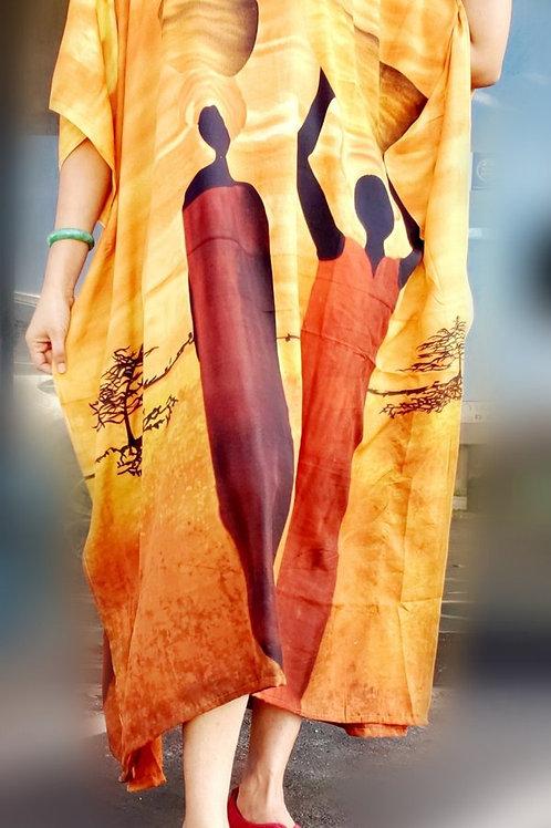 Gold Tribal Kaftan Dress/ Head scarf Set