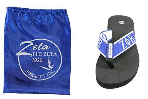 Zeta Phi Beta Flip Flops In Draw String Shoe Bag