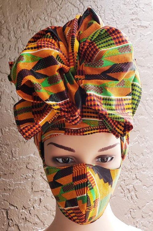 Kente Face Mask / Headwrap Set