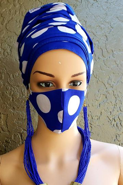 Polka Dot Face Mask / Headwrap Set