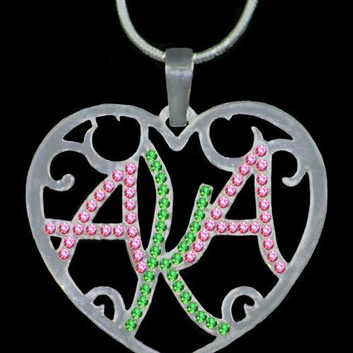 Alpha Kappa Alpha FILIGREE HEART NECKLACE