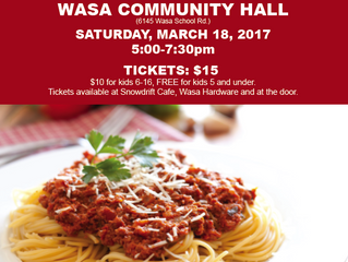 Yummy! Join Us On March 18th At The Wasa Spaghetti Supper.