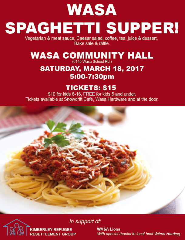 Wasa Spaghetti Supper - Kimberley Refugee Resettlement Fundraiser
