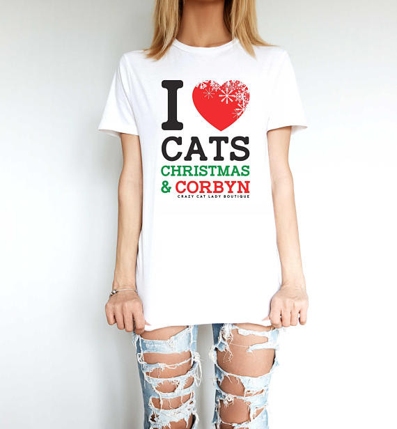 cats christmas and corbyn tshirt crazy cat lady boutique makers market brighton