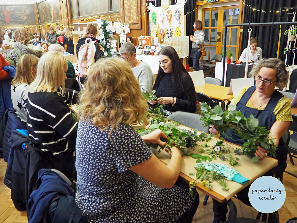 Christmas wreath workshop at Bhasvic, Hove