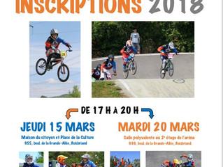 Inscriptions Saison 2018