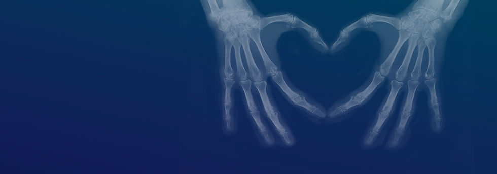 X-ray hands making a heart
