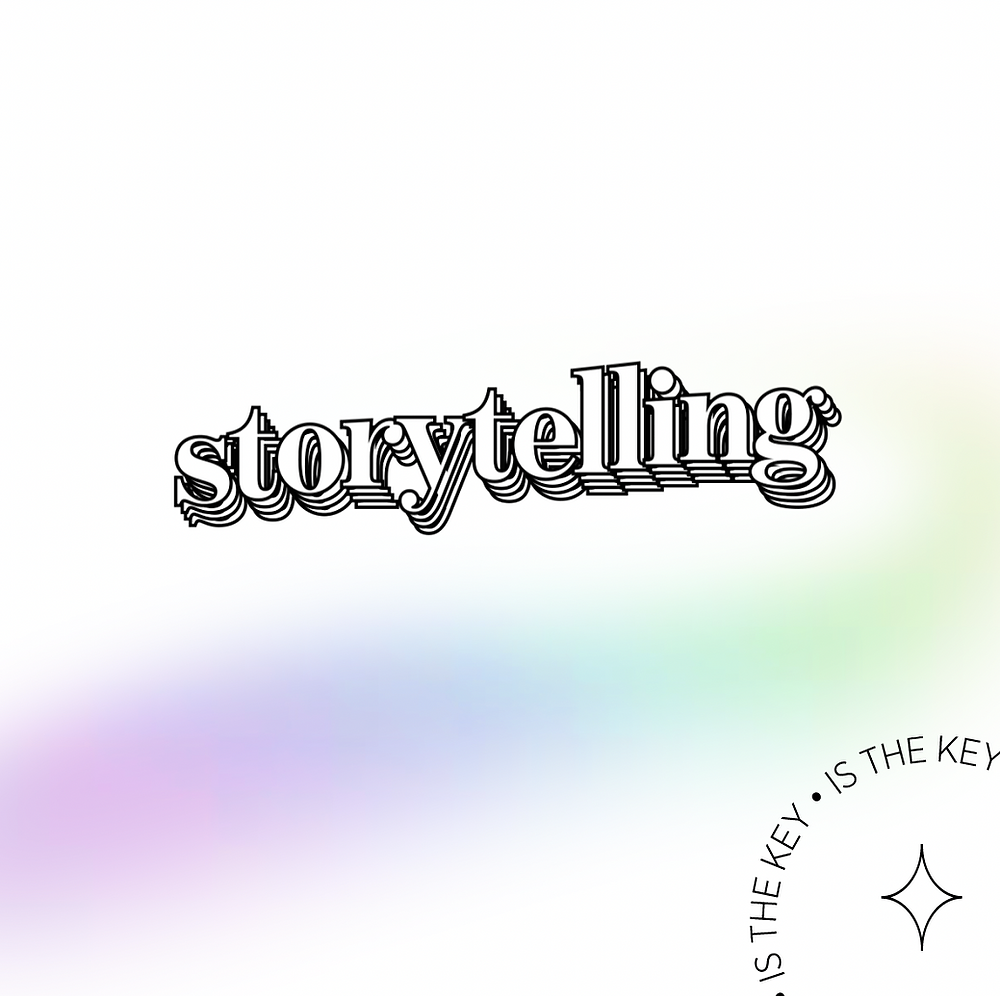 """Storytelling ist the Key. Ein Schriftzug bestehend aus dem """"Storytelling"""" bewegt sich im Bild. Ein regenbogenfarbigen Farbverlauf unterstreicht das Schriftbild. In einer runden Grafik mit Stern zeigt die Botschaft des Bildes."""